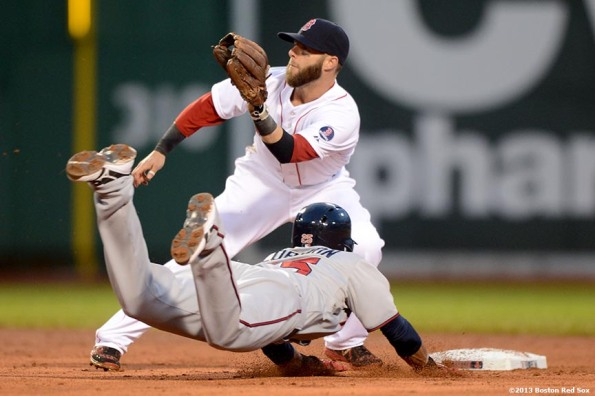 """Boston Red Sox second baseman Dustin Pedroia applies a tag on Minnesota shortstop Pedro Florimon as he steals second base during the second inning of a game against the Minnesota Twins Thursday, May 9, 2013 at Fenway Park."""