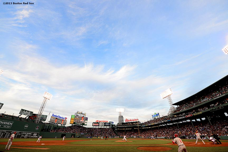 """Fenway Park is shown during a game between the Boston Red Sox and the Philadelphia Phillies Tuesday, May 28, 2013 in Boston, Massachusetts."""