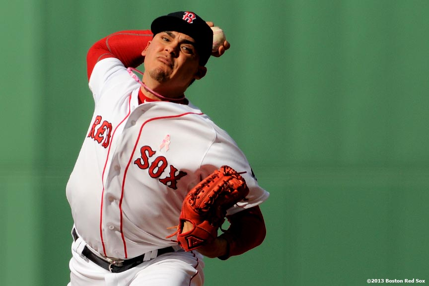 """Boston Red Sox pitcher Jose De La Torre makes his Major League debut during the ninth inning of a game against the Toronto Blue Jays Sunday, May 12, 2013 at Fenway Park in Boston, Massachusetts."""