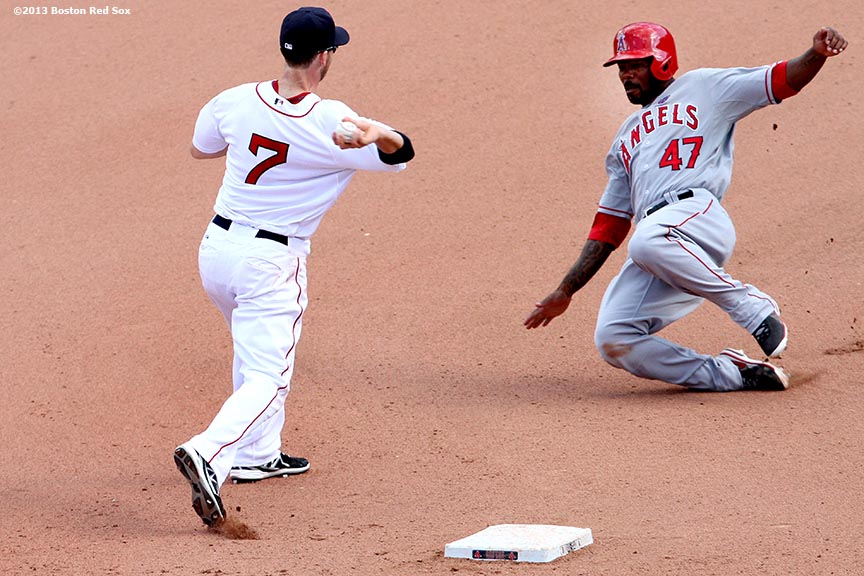 """Boston Red Sox shortstop Stephen Drew turns a double play during the   eighth inning of a game against the Los Angeles Angels of Anaheim Sunday, June 9, 2013 at Fenway Park in Boston, Massachusetts."""
