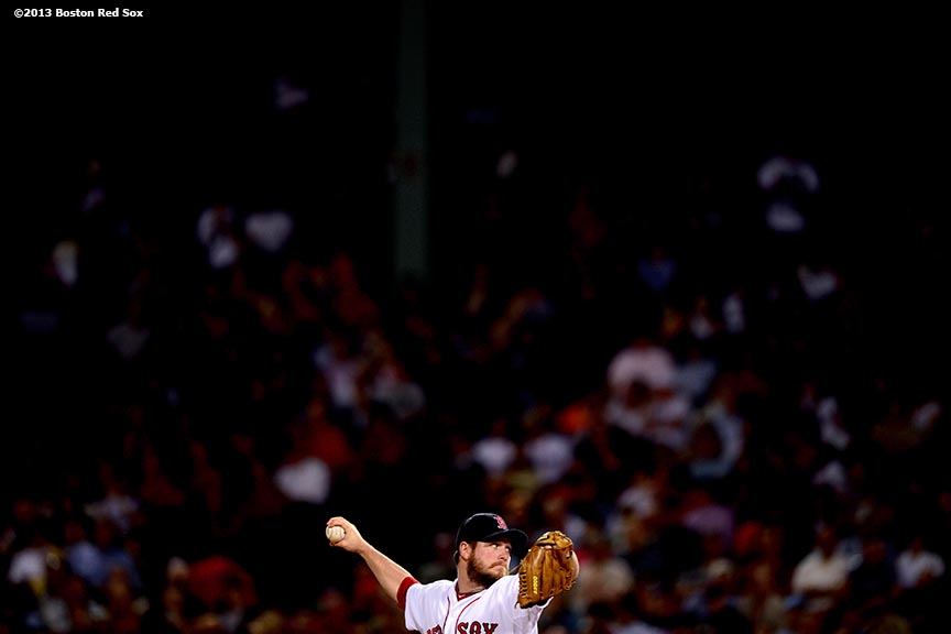 """Boston Red Sox reliever Alex Wilson delivers during the seventh inning of a game against the Tampa Bay Rays Wednesday, June 19, 2013 in Boston, Massachusetts."""