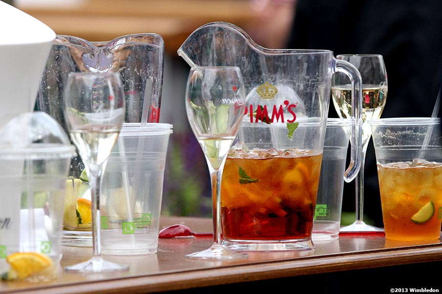 """Pitchers of Pimm's are shown at the All England Lawn and Tennis Club in London, England Wednesday, June 26, 2013 during the 2013 Championships Wimbledon."""