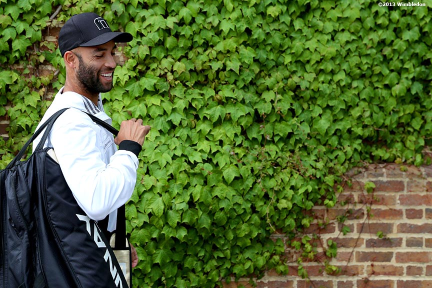 """James Blake smiles at the Aorangi Practice Courts at the All England Lawn and Tennis Club in London, England Thursday, June 27, 2013 during the 2013 Championships Wimbledon."""