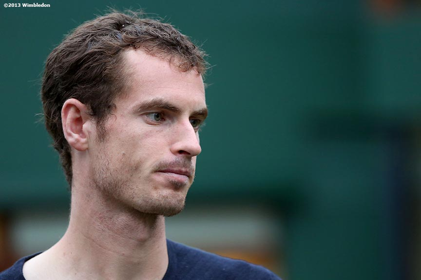 """Andy Murray is interviewed on the players lawn at the All England Lawn and Tennis Club in London, England Friday, June 27, 2013 during the 2013 Championships Wimbledon."""