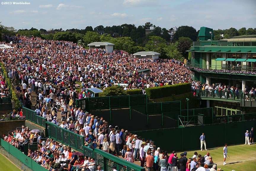 """Fans pack Henman Hill as Laura Robson plays her fourth round match at the All England Lawn and Tennis Club in London, England Wimbledon, June 29, 2013 during the 2013 Championships Wimbledon."""