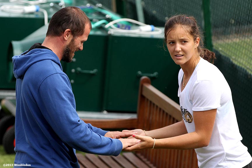 """""""Laura Robson practices her reaction time during a practice session at the All England Lawn and Tennis Club in London, England Wimbledon, June 29, 2013 during the 2013 Championships Wimbledon."""""""