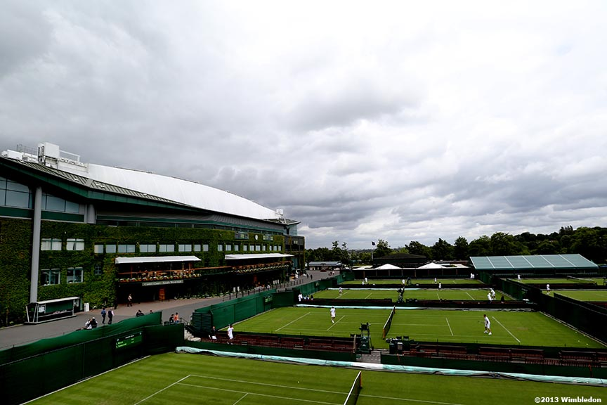 """Centre Court and the outer courts are shown at the All England Lawn and Tennis Club in London, England Saturday, June 22, 2013 before the start of the 2013 Championships Wimbledon."""