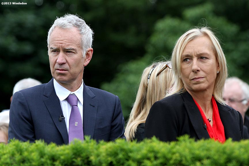 """Former tennis players John McEnroe and Martina Navratilova watch tennis at the All England Lawn and Tennis Club in London, England Monday, June 24, 2013 during the 2013 Championships Wimbledon."""