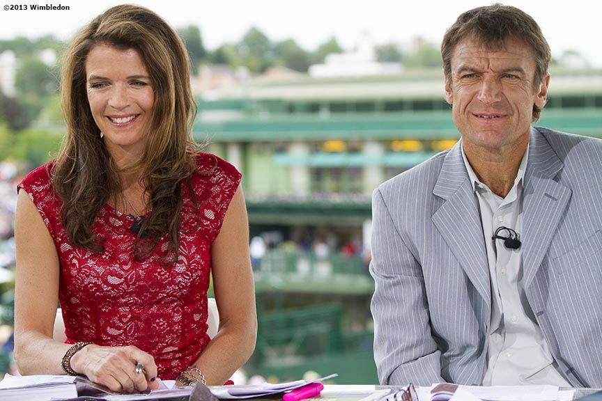 """Broadcaster Annabel Croft and former tennis player Mats Wilander host 'Live At Wimbledon' at the All England Lawn and Tennis Club in London, England Tuesday, June 25, 2013 during the 2013 Championships Wimbledon."""