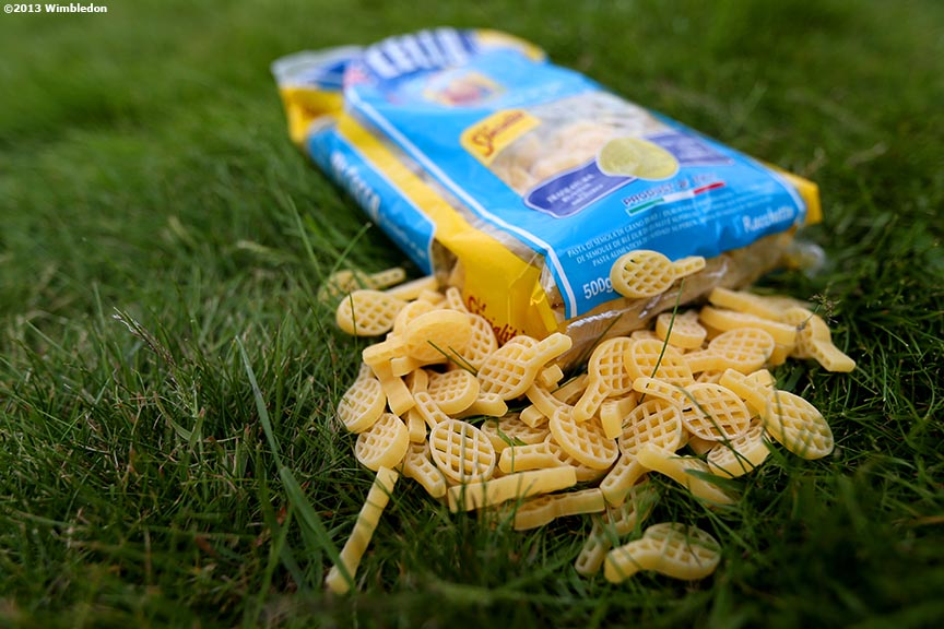 """Tennis racquet shaped pasta, served in the player dining area, are shown at the All England Lawn and Tennis Club in London, England Wednesday, June 26, 2013 during the 2013 Championships Wimbledon."""