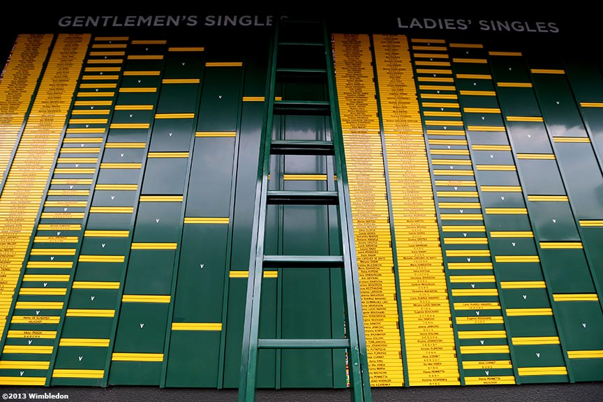 """The gentlemen's and ladies' singles main draws are shown at the All England Lawn and Tennis Club in London, England Wednesday, June 26, 2013 during the 2013 Championships Wimbledon."""