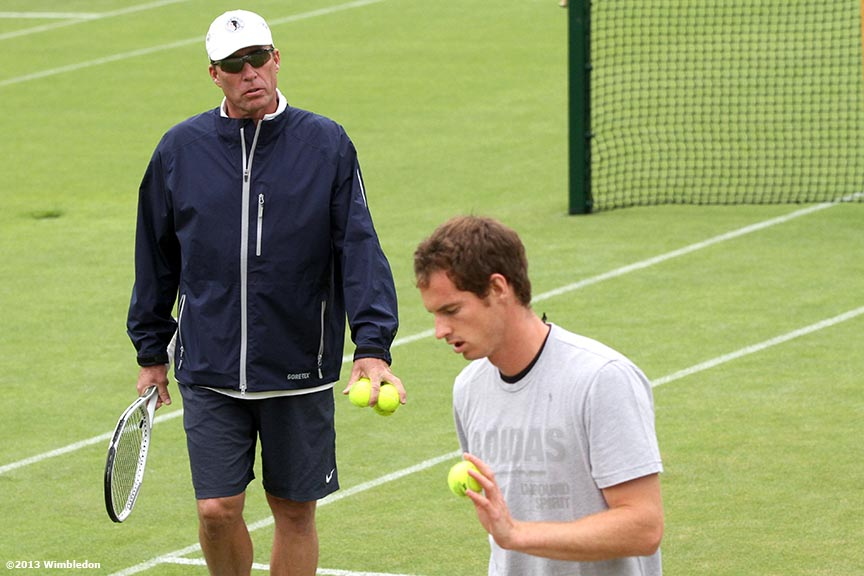 """Ivan Lendl speaks to Andy Murray during a practice session at the All England Lawn and Tennis Club in London, England Tuesday, July 2, 2013 during the 2013 Championships Wimbledon."""