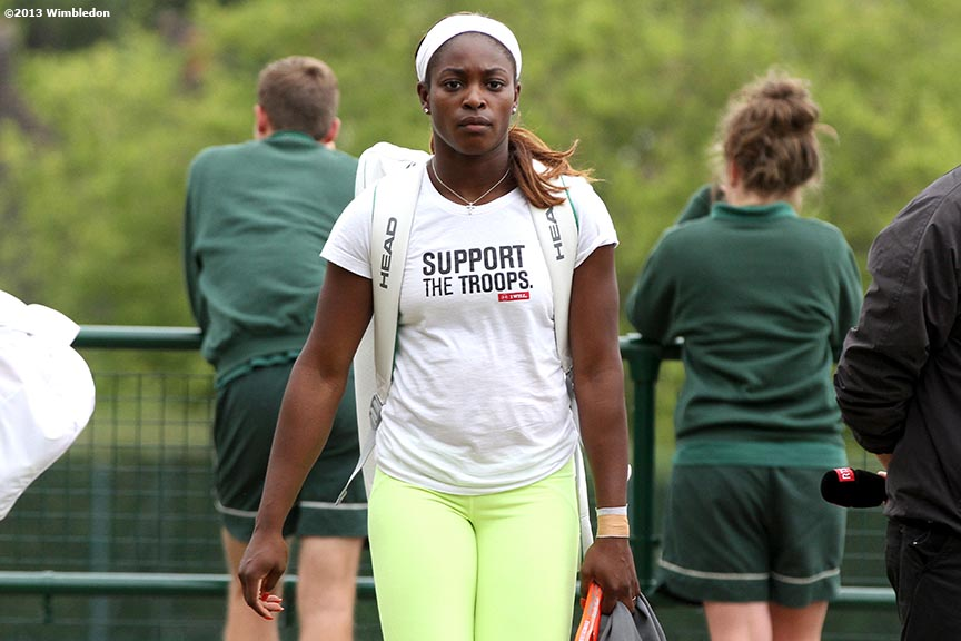 """Sloane Stephens leaves the practice courts before playing her Quarter-Final match at the All England Lawn and Tennis Club in London, England Tuesday, July 2, 2013 during the 2013 Championships Wimbledon."""