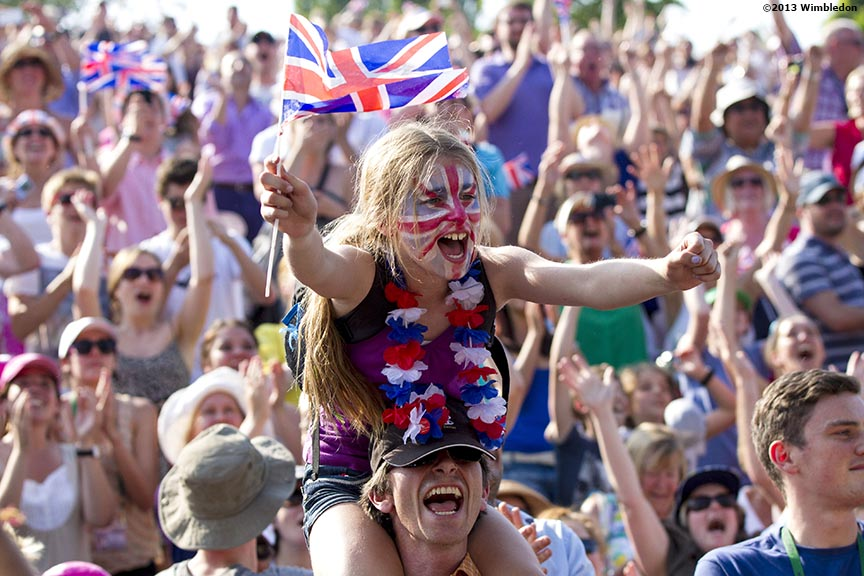 """""""A young fan camped on Henman Hill at the All England Lawn and Tennis Club in London, England reacts as she watches Andy Murray of Scotland take Championship Point to win the 2013 Championships Wimbledon Saturday, July 6, 2013."""""""