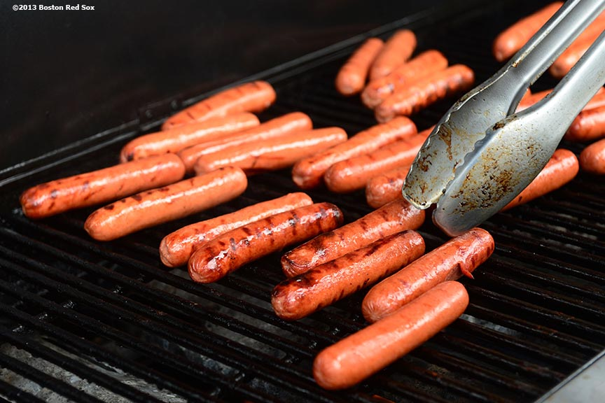 """Grilled hot dogs are shown during a National Hot Dog Day tasting contest sponsored by Kayem Franks at the Landing at Long Wharf in Boston, Massachusetts Tuesday, July 23, 2013."""