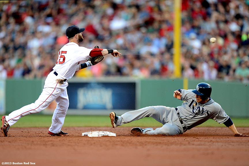 """Boston Red Sox second baseman Dustin Pedroia turns a double play over second baseman Ben Zobrist during the third inning of a game against the Tampa Bay Rays Monday, July 29, 2013 at Fenway Park in Boston, Massachusetts."""