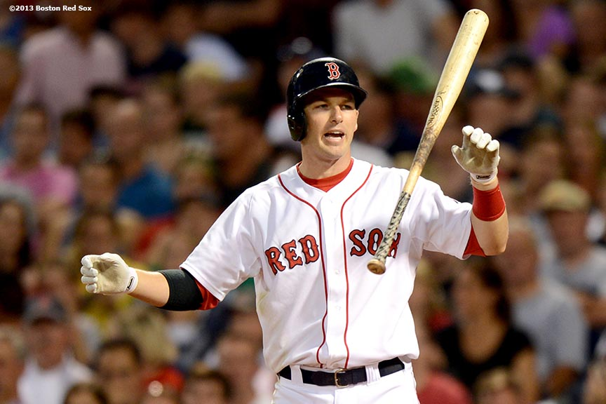 """Boston Red Sox shortstop Stephen Drew reacts after striking out during the fourth inning of a game against the Seattle Mariners Tuesday, July 30, 2013 at Fenway Park in Boston, Massachusetts."""