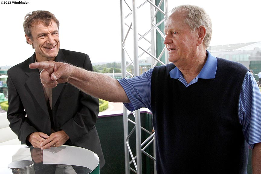 """Former tennis payer Mats Wilander and former golfer Jack Nicklaus chat on the set of 'Live at Wimbledon' at the All England Lawn and Tennis Club in London, England Tuesday, July 2, 2013 during the 2013 Championships Wimbledon."""