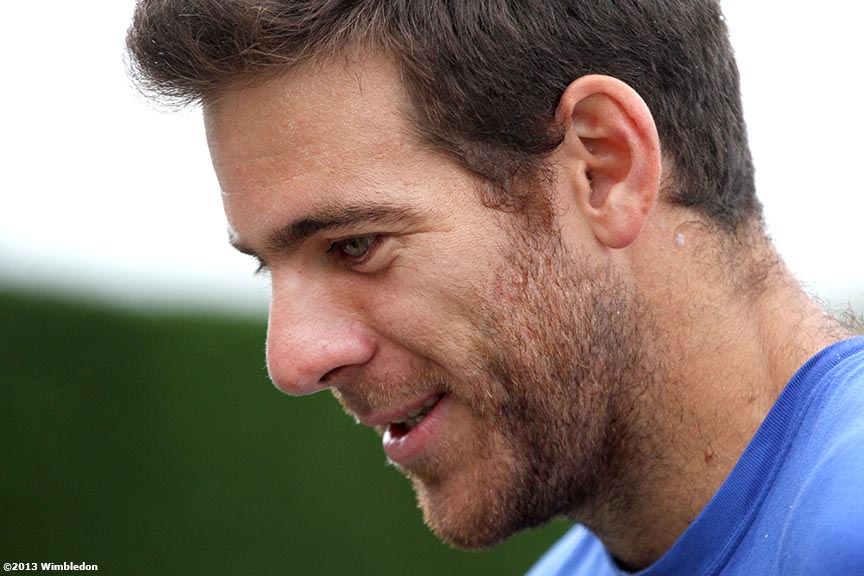 """Juan Martin Del Potro answers questions during an interview at the All England Lawn and Tennis Club in London, England Tuesday, July 2, 2013 during the 2013 Championships Wimbledon."""