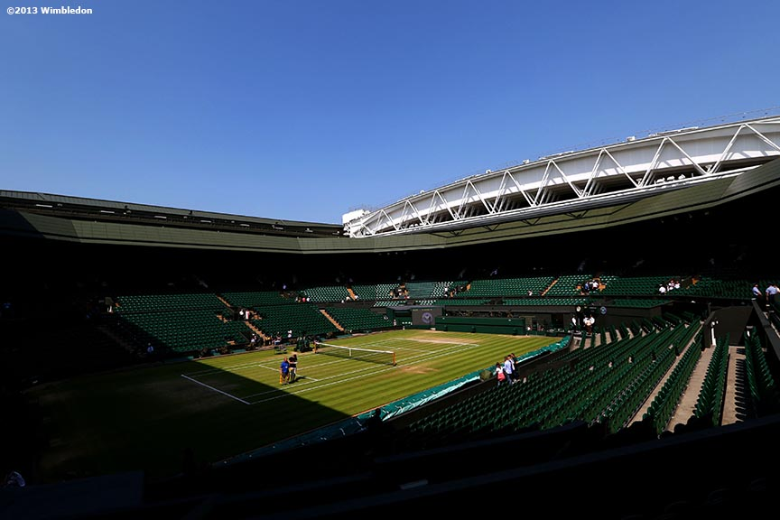 """Centre Court is shown before play on Day 11 at the All England Lawn and Tennis Club in London, England Friday, July 5, 2013 during the 2013 Championships Wimbledon."""