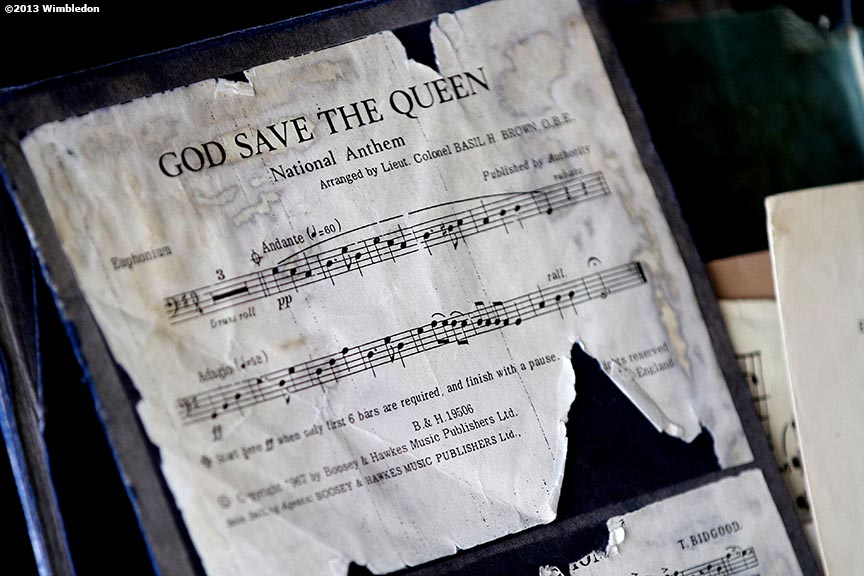 """Sheet music for 'God Save The Queen' is shown at the All England Lawn and Tennis Club in London, England Sunday, July 6, 2013 during the 2013 Championships Wimbledon."""