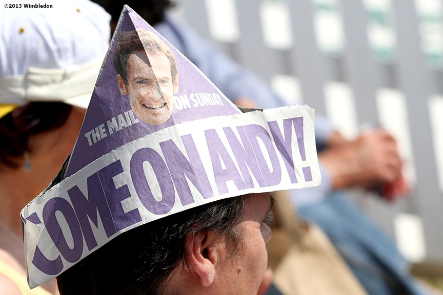 """A fan shows his support for Andy Murray at the All England Lawn and Tennis Club in London, England Sunday, July 7, 2013 during the 2013 Championships Wimbledon."""