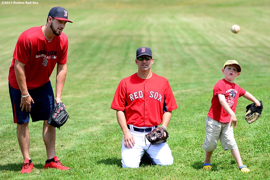 """Boston Red Sox pitcher Brandon Workman gives instructions during a pitching clinic at East Billings Field in West Roxbury, Massachusetts Wednesday, July 31, 2013 as part of the Boston Parks & Recreation Department's Sox Talk program."""