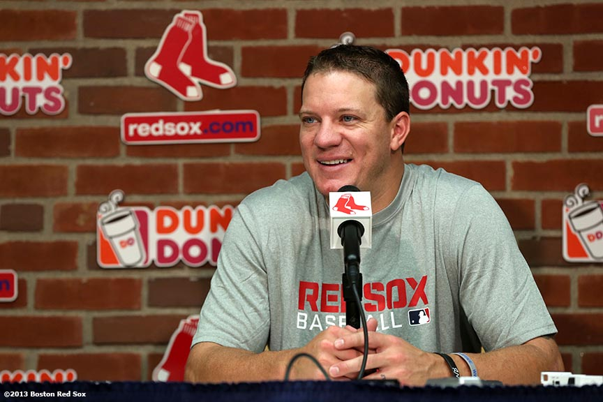 """Cy-Young winning pitcher Jake Beavy holds a press conference for the first time at Fenway Park in Boston, Massachusetts Thursday, August 1, 2013 as a member of the Boston Red Sox after being traded from the Chicago White Sox. """