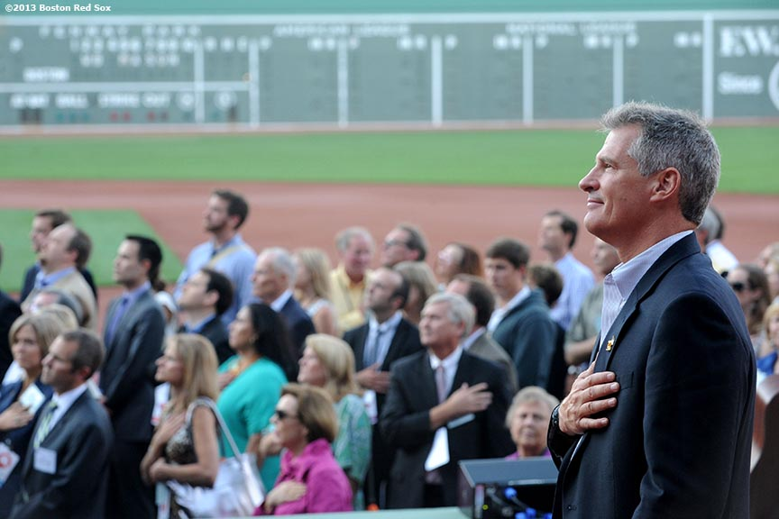 """""""Former Massachusetts Senator Scott Brown and Republican supporters pause as the National Anthem is played at Fenway Park in Boston, Massachusetts Thursday, August 15, 2013 during the Republican National Committee 'Making It Happen' Summer Meeting."""""""