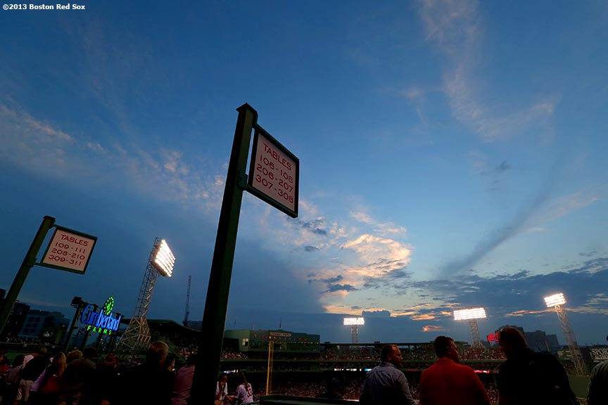 """Fenway Park is shown at dusk during a game between the Boston Red Sox and the Baltimore Orioles Wednesday, August 28, 2013."""