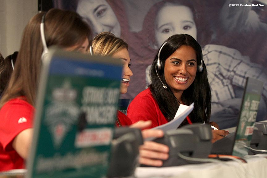 """Kim Doubront, wife of Boston Red Sox pitcher Felix Doubront, participates in the WEEI-NESN Jimmy Fund Radio-Telethon fundraiser Wednesday, August 28, 2013 at Fenway Park in Boston, Massachusetts."""
