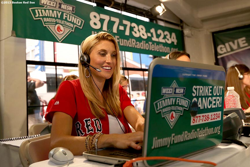 """Lindsay Buchholz, wife of Boston Red Sox pitcher Clay Buchholz, participates in the WEEI-NESN Jimmy Fund Radio-Telethon fundraiser Wednesday, August 28, 2013 at Fenway Park in Boston, Massachusetts."""