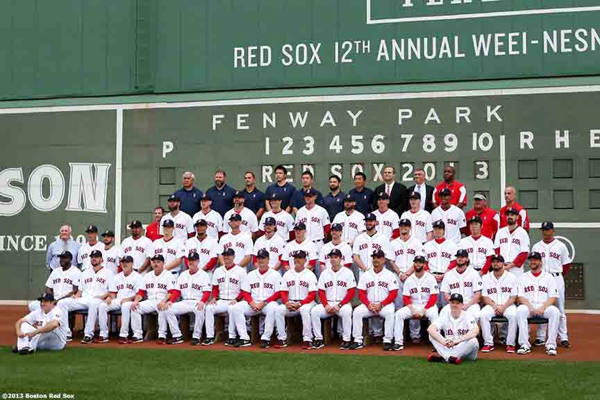 """The Boston Red Sox pose for the official team photograph Thursday, August 29, 2013 at Fenway Park in Boston, Massachusetts."""