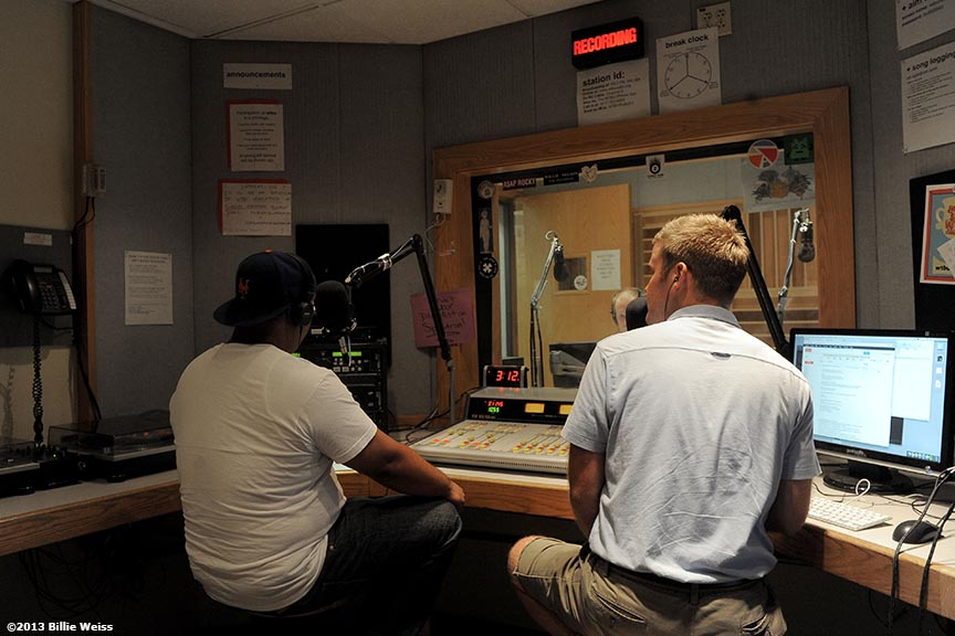 """Boston University journalism graduate students Alex Hyacinthe (left), Nick Hansen (middle), and Andy Bunker (right) host 'Coast To Coast With Alex & Andy' on WBUR Radio in the WBUR studios in Boston, Massachusetts Tuesday, August 6, 2013."""
