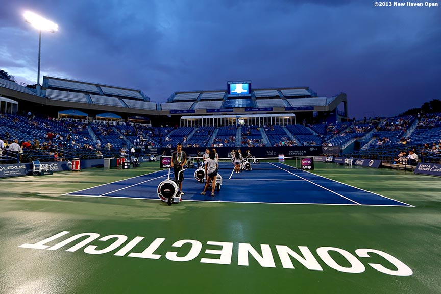 """Stadium Court is shown during a rain delay on Day 4 of the New Haven Open at Yale University in New Haven, Connecticut Monday, August 19, 2013."""