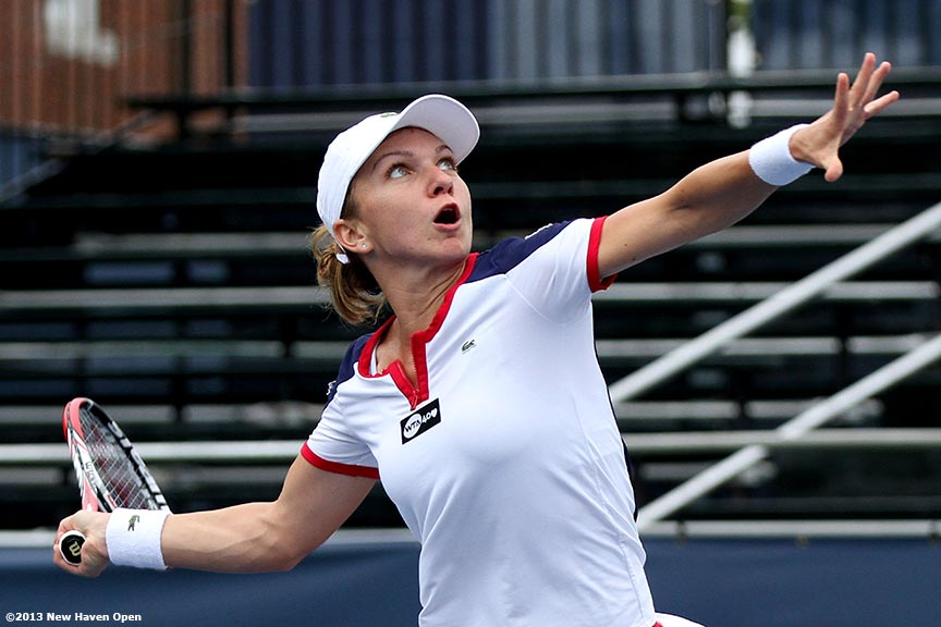 """""""Simona Halep prepares to hit a swinging forehand volley on Day 7 of the New Haven Open at Yale University in New Haven, Connecticut Thursday, August 20, 2013."""""""