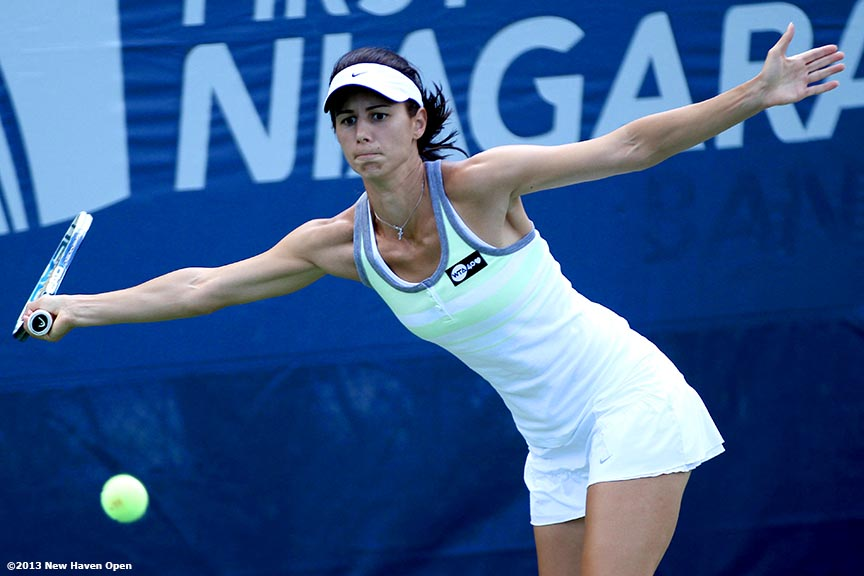 """Tsvetana Pironkova reaches for a forehand on Day 2 of the New Haven Open at Yale University in New Haven, Connecticut Saturday, August 17, 2013."""