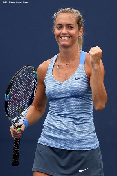 """Klara Zakapalova celebrates after defeating Dominica Cibulkova on Day 4 of the New Haven Open at Yale University in New Haven, Connecticut Monday, August 19, 2013."""
