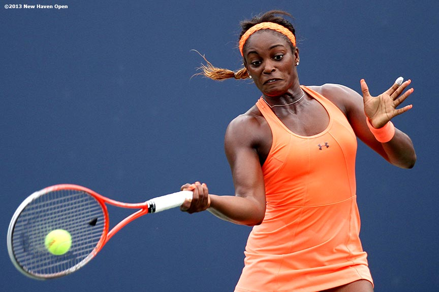 """Sloane Stephens connects on a forehand on Day 4 of the New Haven Open at Yale University in New Haven, Connecticut Monday, August 19, 2013."""