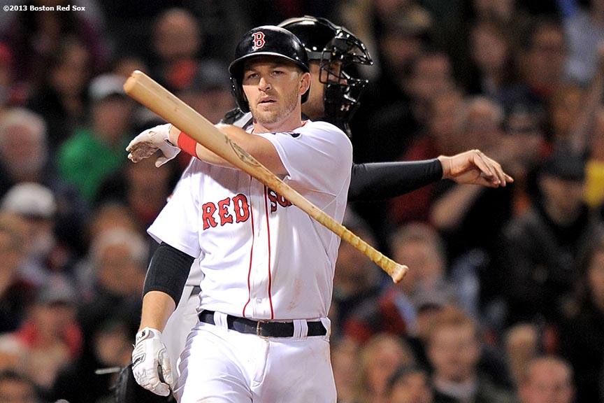 """Boston Red Sox shortstop Stephen Drew reacts after striking out during the sixth inning of a game against the Baltimore Orioles Tuesday, September 17, 2013 at Fenway Park in Boston, Massachusetts."""