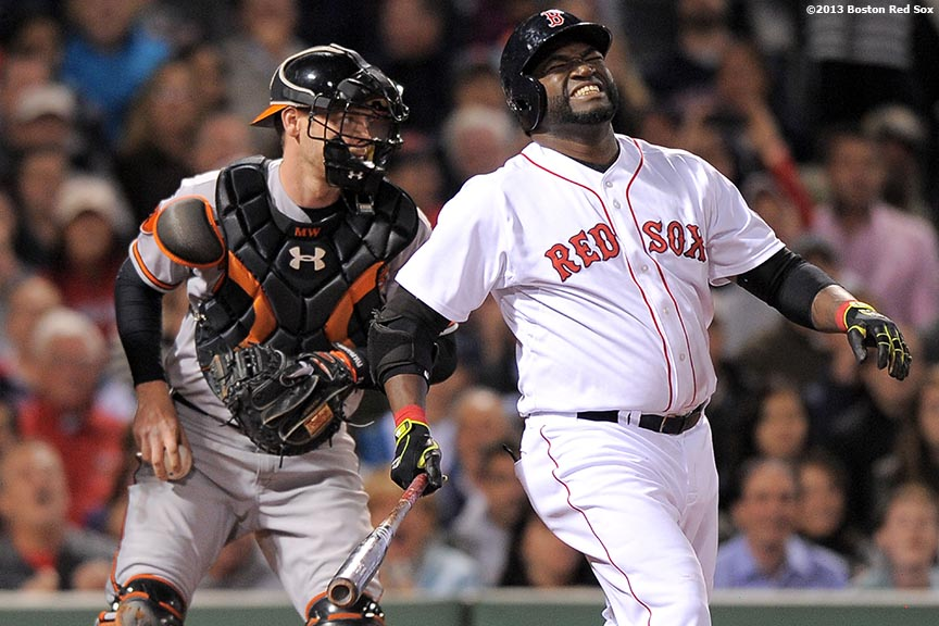 """Boston Red Sox designated hitter David Ortiz reacts after striking out during the eighth inning of a game against the Baltimore Orioles Tuesday, September 17, 2013 at Fenway Park in Boston, Massachusetts."""