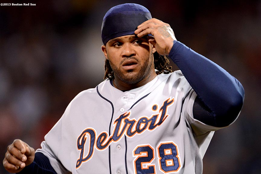 """Detroit Tigers first baseman Prince Fielder reacts between innings during a game against the Boston Red Sox Tuesday, September 3, at Fenway Park in Boston, Massachusetts."""