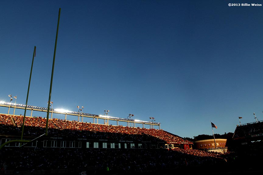 """Alumni Stadium iis shown during a football game between Boston College and Florida State University in Chestnut Hill, Massachusetts Saturday, September 28, 2013."""