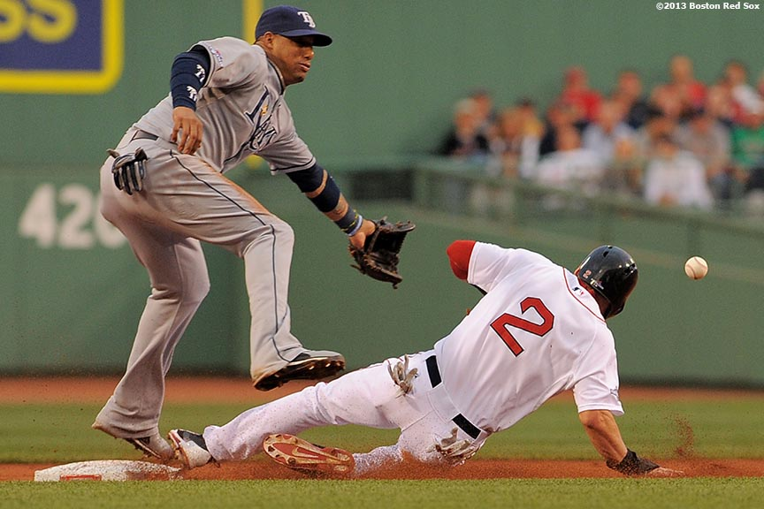 """Boston Red Sox center fielder Jacoby Ellsbury steals second base during the first inning of game two of the American League Division Series against the Tampa Bay Rays Saturday, October 5, 2013 at Fenway Park in Boston, Massachusetts."""