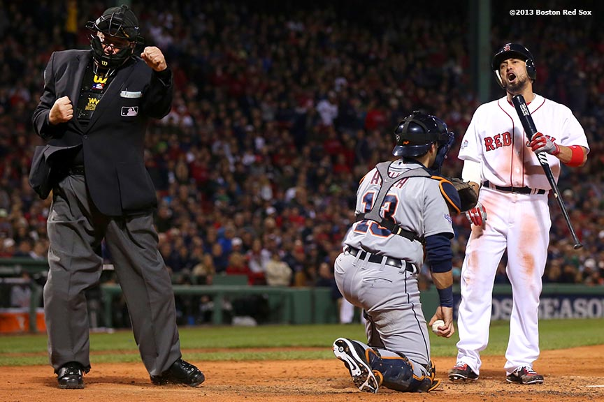 """Boston Red Sox right fielder Shane Victorino reacts after striking out during the third inning of game one of the American League Championship Series against the Detroit Tigers Saturday, October 12, 2013 at Fenway Park in Boston, Massachusetts."""