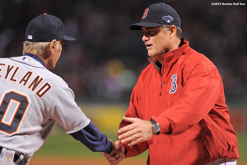 """Detroit Tigers manager Jim Leyland and Boston Red Sox manager John Farrell shake hands during a pre-game ceremony before game one of the American League Championship Series between the Boston Red Sox and the Detroit Tigers Saturday, October 12, 2013 at Fenway Park in Boston, Massachusetts."""
