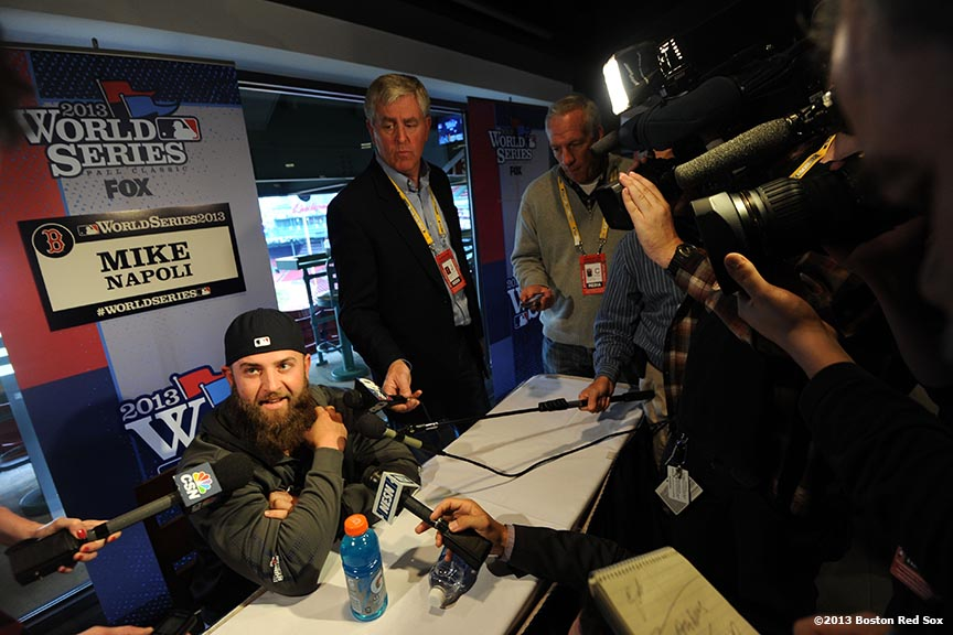 """Boston Red Sox first baseman Mike Napoli meets with the media at Fenway Park the day before game one of the 2013 World Series Tuesday, October 22, 2013 at Fenway Park in Boston, Massachusetts."""