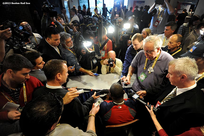 """Boston Red Sox designated hitter David Ortiz meets with the media at Fenway Park the day before game one of the 2013 World Series  Tuesday, October 22, 2013 at Fenway Park in Boston, Massachusetts."""