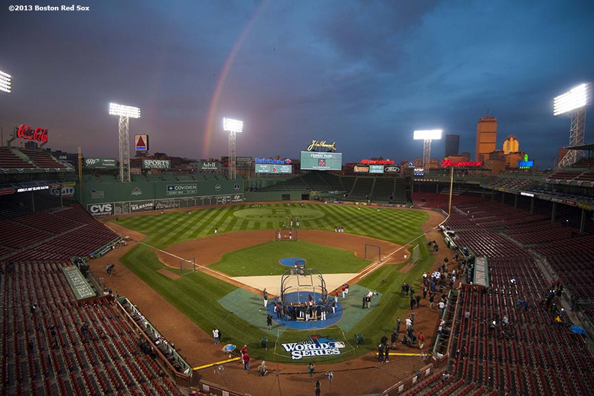 """A rainbow forms over Fenway Park during a team workout before game one of the 2013 World Series between the Boston Red Sox and the St. Louis Cardinals Tuesday, October 22, 2013 at Fenway Park in Boston, Massachusetts."""