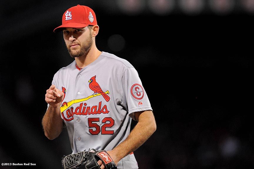 """St. Louis Cardinals pitcher Michael Wacha gestures during the fifth inning of game two of the 2013 World Series between against the St. Louis Cardinals Thursday, October 24, 2013 at Fenway Park in Boston, Massachusetts."""
